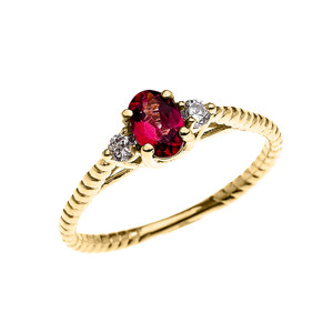 Dainty Yellow Gold Garnet Solitaire Rope Design Engagement/Promise Ring