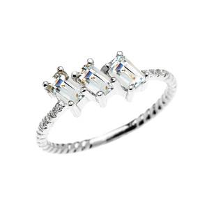 Dainty White Gold Three Stone Emerald Cut Aquamarine and Diamond Rope Design Engagement/Promise Ring