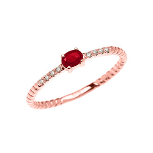 Dainty Solitaire Ruby and Diamond Rope Design Promise Ring in Gold (Yellow/Rose/White)