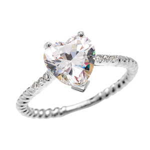 Dainty White Gold 3 Carat Heart Cubic Zirconia Solitaire Rope Design Engagement Ring