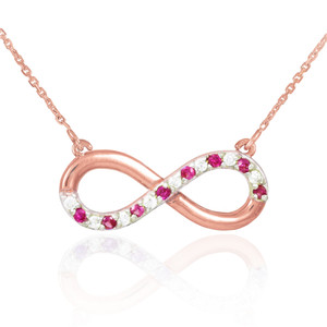 14K Rose Gold Ruby and Diamond Infinity Necklace