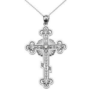 Elegant Eastern Orthodox Diamond Cross Pendant Necklace In Gold (Yellow/Rose/White)