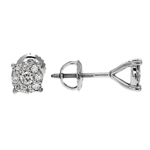 1/2 (0.5) Carat Halo Diamond Cluster Stud Earrings in White Gold (Medium)