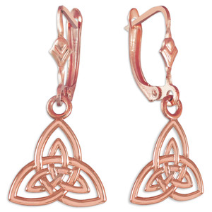 14K Rose Gold Celtic Triquetra Trinity Knot Earrings