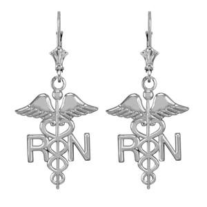14k White Gold Medical Registered Nurse Earrings