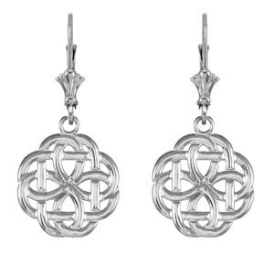 Sterling Silver Eternity Trinity Knot Earrings