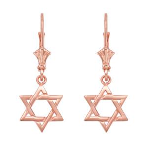 14k Rose Gold Star of David Earrings