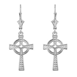 14k White Gold Celtic Cross Earrings