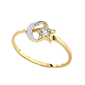 (Yellow/Rose/White) Gold Crescent Moon and Star CZ Ring