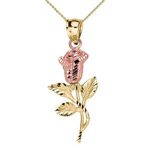 Beautiful Yellow Gold Rose Pendant Necklace