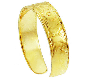 Yellow Gold Butterfly and Flower Toe Ring