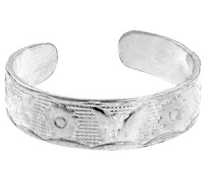 Silver Butterfly and Flower Toe Ring
