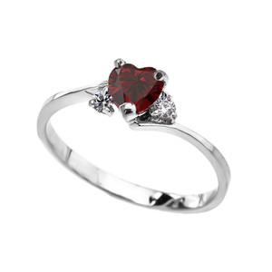 Dainty White Gold Garnet Heart And C.Z Promise Ring