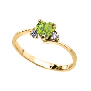 Dainty Yellow Gold CZ Peridot Heart Promise Ring