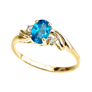 Yellow Gold CZ Blue Topaz Oval Solitaire Proposal Ring