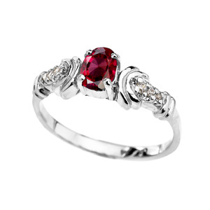Diamond and Garnet Oval Solitaire Proposal Ring Gold In (Yellow/Rose/White)
