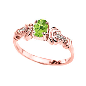 Diamond and Peridot Oval Solitaire Proposal Ring In Gold (Yellow/Rose/White)