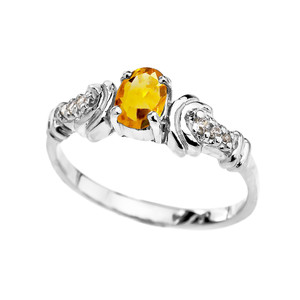 Diamond and Citrine Oval Solitaire Proposal Ring In Gold (Yellow/Rose/White)