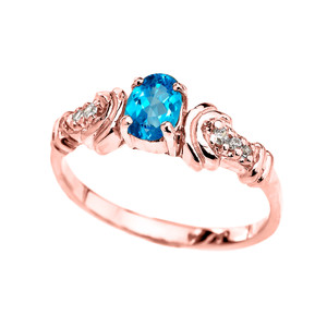 Gold Diamond and Blue Topaz Oval Solitaire Proposal Ring In (Yellow/Rose/White)