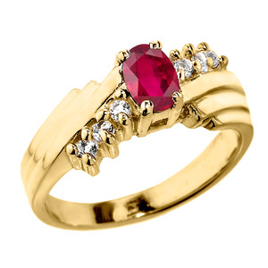 Dazzling Yellow Gold Diamond and Ruby Proposal Ring
