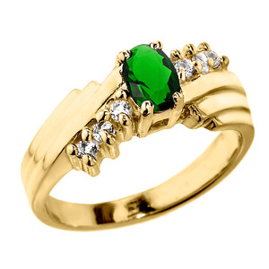 Dazzling Yellow Gold Diamond and Emerald Proposal Ring