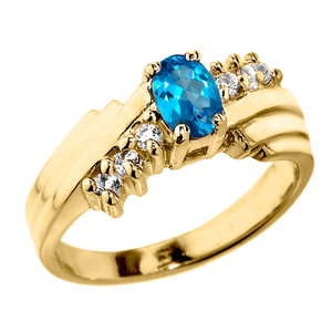 Dazzling Yellow Gold Diamond and Blue Topaz Proposal Ring
