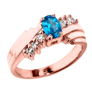 Dazzling Rose Gold Diamond and Blue Topaz Proposal Ring