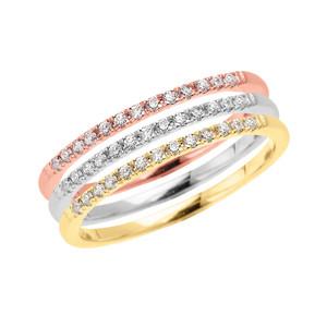 Tri Color Gold Elegant Diamond Stackable Rings