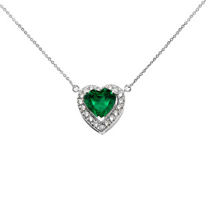 Elegant White Gold Diamond and May Birthstone (LCE) Emerald Heart Solitaire Necklace