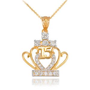 Gold Quinceanera 15 Años CZ Pendant Necklace