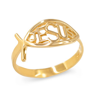 Yellow Gold Christian Ichthus Jesus Ring