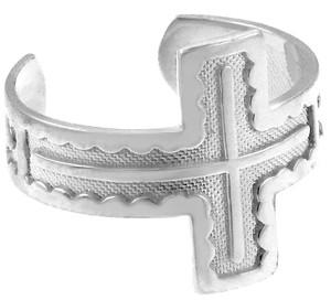 White Gold Cross Toe Ring