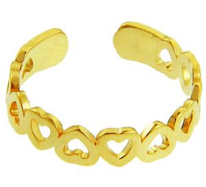 Yellow Gold Heart Shaped Toe Ring