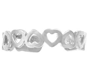 White Gold Heart Shaped Toe Ring