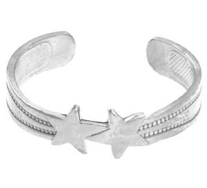 White Gold Stars Toe Ring