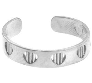 White Gold Heart Bar Toe Ring