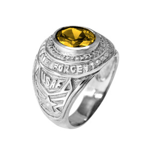 Solid White Gold US Air Force Men's CZ Birthstone Ring