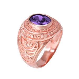 Solid Rose Gold US Air Force Men's CZ Birthstone Ring