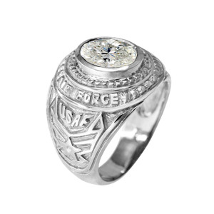 Sterling Silver US Air Force Men's CZ Birthstone Ring