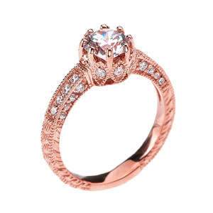 Art Deco Diamond Rose Gold Engagement and Proposal Ring with 1 Carat White Topaz Centerstone