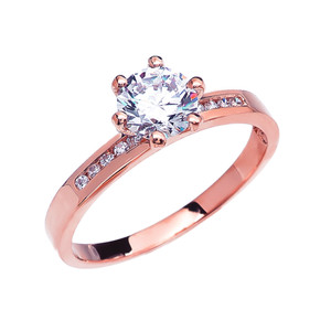 Diamond Channel-Set Rose Gold Engagement Solitaire Ring With 1 Carat White Topaz Center stone