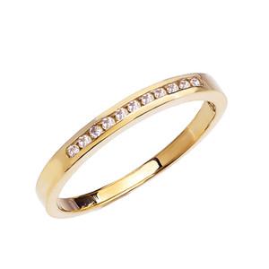 Diamond Channel-Set Yellow Gold Wedding Band