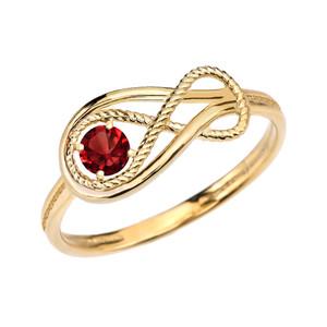 Garnet Rope Infinity Yellow Gold Ring
