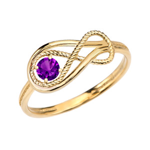 Amethyst Rope Infinity Yellow Gold Ring