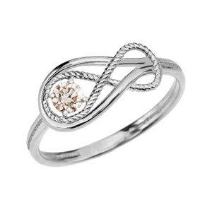 CZ Rope Infinity White Gold Ring