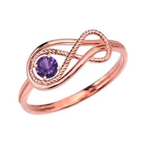 Alexandrite C.Z Rope Infinity Rose Gold Ring