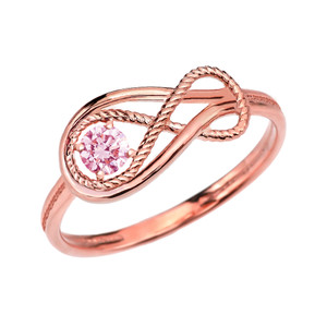 Pink CZ Rope Infinity Rose Gold Ring