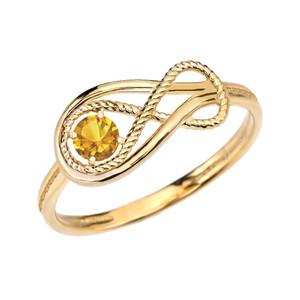 Citrine Rope Infinity Yellow Gold Ring