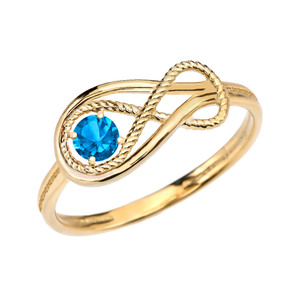 Blue Topaz Rope Infinity Yellow Gold Ring