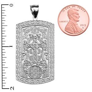 Armenian Cross (Khachkar) White Gold Engraveable Dog Tag Pendant Necklace